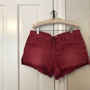 Free People Red cutoff denim shorts
